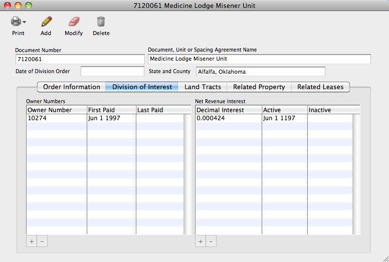 Detail Tab on Statement of Interest – Lists of owner numbers and decimal...