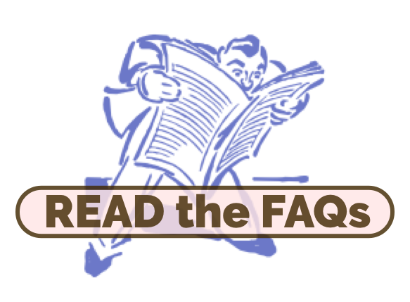 """""""Read the frequently asked questions"""" graphic with man reading newspaper"""